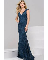 Jovani - Blue Long Lace Evening Dress 39315 - Lyst