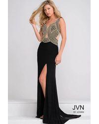 Jovani - Black Jersey Fitted Embellished Bodice Prom Dress Jvn - Lyst
