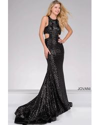Jovani - Black Cut Out Sequined Prom Dress - Lyst