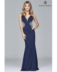 Faviana | Blue S Long Fitted Neoprene Dress With Beading At Side Waist | Lyst