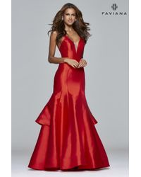 Faviana | Red S Long V-neck Ball Gown With Ruffle Overskirt | Lyst