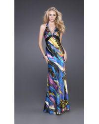 La Femme - Blue Haltered Multi-color Evening Gown - Lyst
