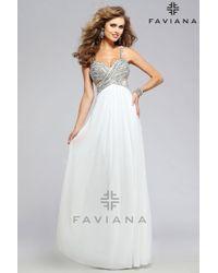 Faviana | White Pretty Sweetheart Chiffon Dress | Lyst