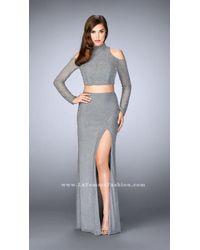 La Femme   Blue Long Sleeve High Neck Beaded Two-piece Long Dress   Lyst