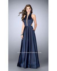 La Femme - Blue Sinuous Deep Halter Long A-line Evening Gown - Lyst