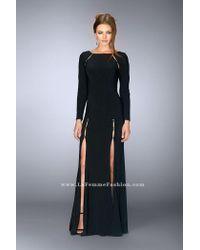 La Femme | Long Sleeve Long Black Dress With Cutouts Detail | Lyst