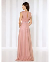 Mon Cheri - Pink Ruched Cap Sleeve Ornate Chiffon Gown 116664 - 1 Pc Rose Quartz In Size 8 Available - Lyst