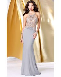 Shail K | Metallic Halter Long Gown With Crystal Details | Lyst