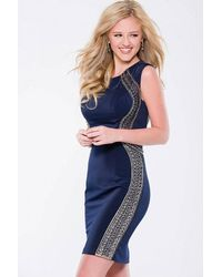 Jovani - Blue Beaded Embellishments Jewel Sheath Dress Jvn - Lyst