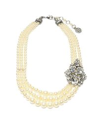 Ben-Amun - White Three Row Pearl Necklace With Vintage Brooch - Lyst