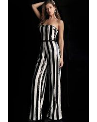 9516cfea166 Lyst - Jovani 65397 Strapless Striped Sequined Jumpsuit in Black
