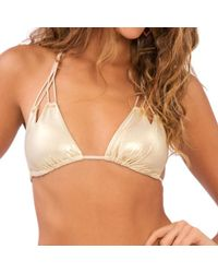 Luli Fama - Metallic Zig-zag Knotted Cut Out Triangle In Gold Rush (l) - Lyst