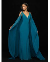 Madison James - Blue 18-742 Embellished Deep V-neck Chiffon Gown With Cape - Lyst