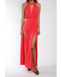 Donna Mizani - Red Draped Halter Gown In Rose - Lyst