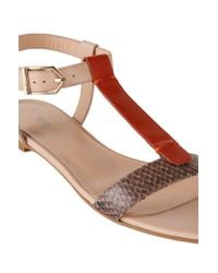 HUGO - Natural Sandals In Leather With Python Embossing: 'verine' - Lyst