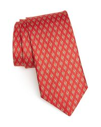 Ferragamo | Red Cyclist Print Silk Tie for Men | Lyst