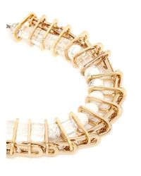 Venna - Metallic Marble Bead Crystal Chain Link Spacer Necklace - Lyst