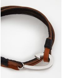 Seven London - Brown Leather Wrap Bracelet for Men - Lyst