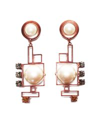 Crystalline | Metallic Antique Copper Pearl Earrings | Lyst