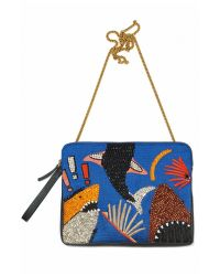 Lizzie Fortunato - Black Safari Clutch In Shark Attach - Lyst