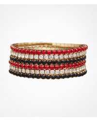 Express | Red Six Row Rhinestone Stretch Bracelet Set | Lyst