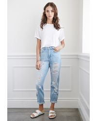 Forever 21 - Blue Distressed Boyfriend Jeans You've Been Added To The Waitlist - Lyst