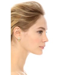 Rebecca Minkoff - Metallic Inverted Crystal Earrings - Gold/clear - Lyst