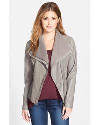 T Tahari - Gray 'Luisa' Knit Panel Drape Front Leather Jacket - Lyst