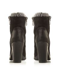 Steve Madden - Black Sweater Zip Detail Low Boots - Lyst