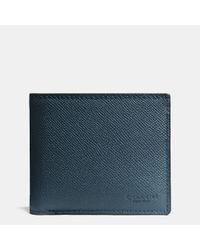 COACH - Blue Compact Id Wallet In Crossgrain Leather for Men - Lyst