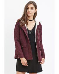 Forever 21 - Purple Hooded Plush Jacket - Lyst