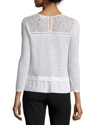 Rebecca Taylor - Gray Lace-trim Linen Top - Lyst