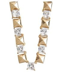 Noir Jewelry - Metallic Gold And Crystal Studded Necklace - Lyst