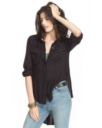 Free People | Black 'one Of The Guys' Button Front Shirt | Lyst