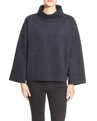 Madewell | Black Herringbone Mock Neck Sweatshirt | Lyst