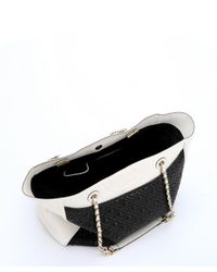 Tory Burch - Black And New Ivory Quilted Leather 'Fleming Tote' - Lyst