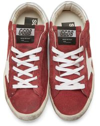 Golden Goose Deluxe Brand | Red Superstar Suede Low-Top Sneakers | Lyst