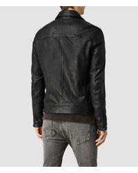 AllSaints - Black Battery Leather Biker Jacket for Men - Lyst