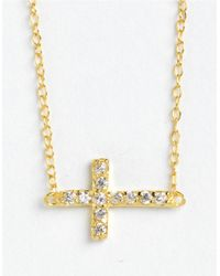 Lord & Taylor | Metallic 18 Kt Gold Over Sterling Silver And Cubic Zirconia Sideways Cross Pendant Necklace | Lyst