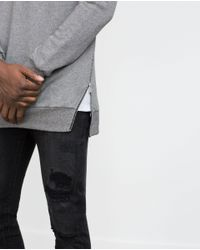 Zara | Gray Side Zip Sweatshirt for Men | Lyst