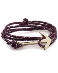 Miansai | Purple Burgundy Rope Gold Anchor Bracelet for Men | Lyst