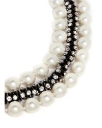 "Kenneth Jay Lane | White 19"" Resin Pearl And Crystal Embellished Triple Strand Necklace 