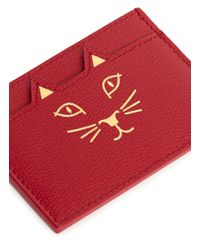 Charlotte Olympia Red 'feline' Cat Face Leather Card Holder