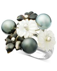 Macy's - Gray Sterling Silver Ring, Black Tahitian Pearl And White Mother Of Pearl Flower - Lyst
