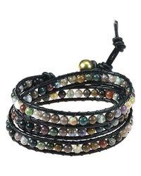 Aeravida | Black Seven Color Jade Treasure Triple Wrap Leather Bracelet | Lyst
