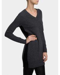 White + Warren - Gray Cashmere V Neck Dress - Lyst