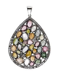 Bavna | Multicolor Sterling Silver Pave Diamonds And Tourmaline Pendant | Lyst