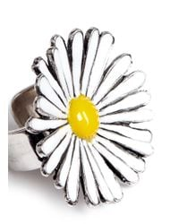 Philippe Audibert | Metallic 'margueritte' Thin Enamel Daisy Ring | Lyst