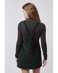 TOPSHOP - Green Petite Moto Cord Pinafore Dress - Lyst
