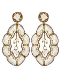 Suzanna Dai | Metallic Maghreb Large Drop Earrings, Ivory/gold | Lyst